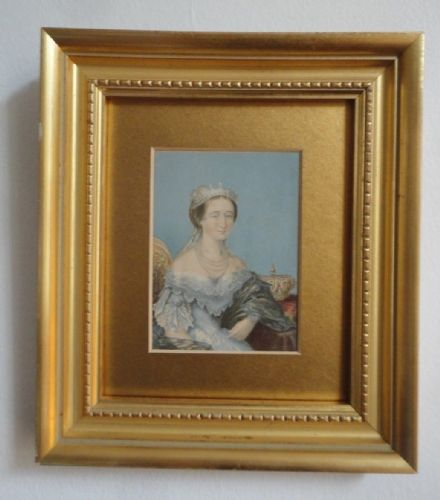Antique French Miniature Empress Eugénie de Montijo France & Royal Crown 1855